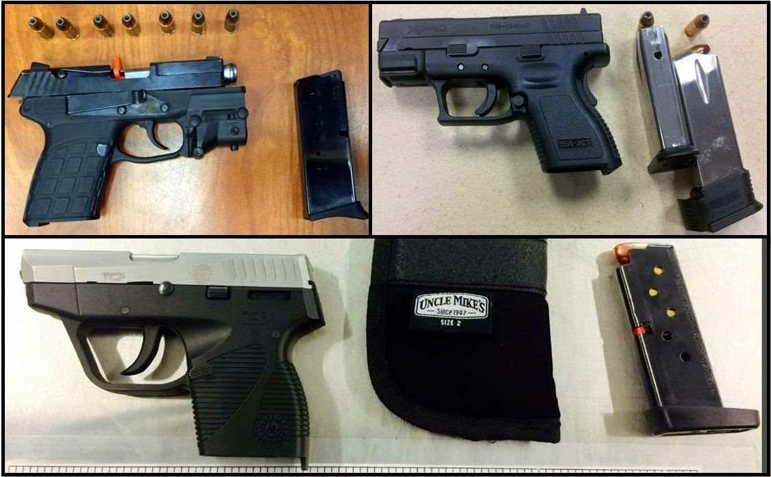 Clockwise from top left, firearms discovered at ATL, CLT, and DAL