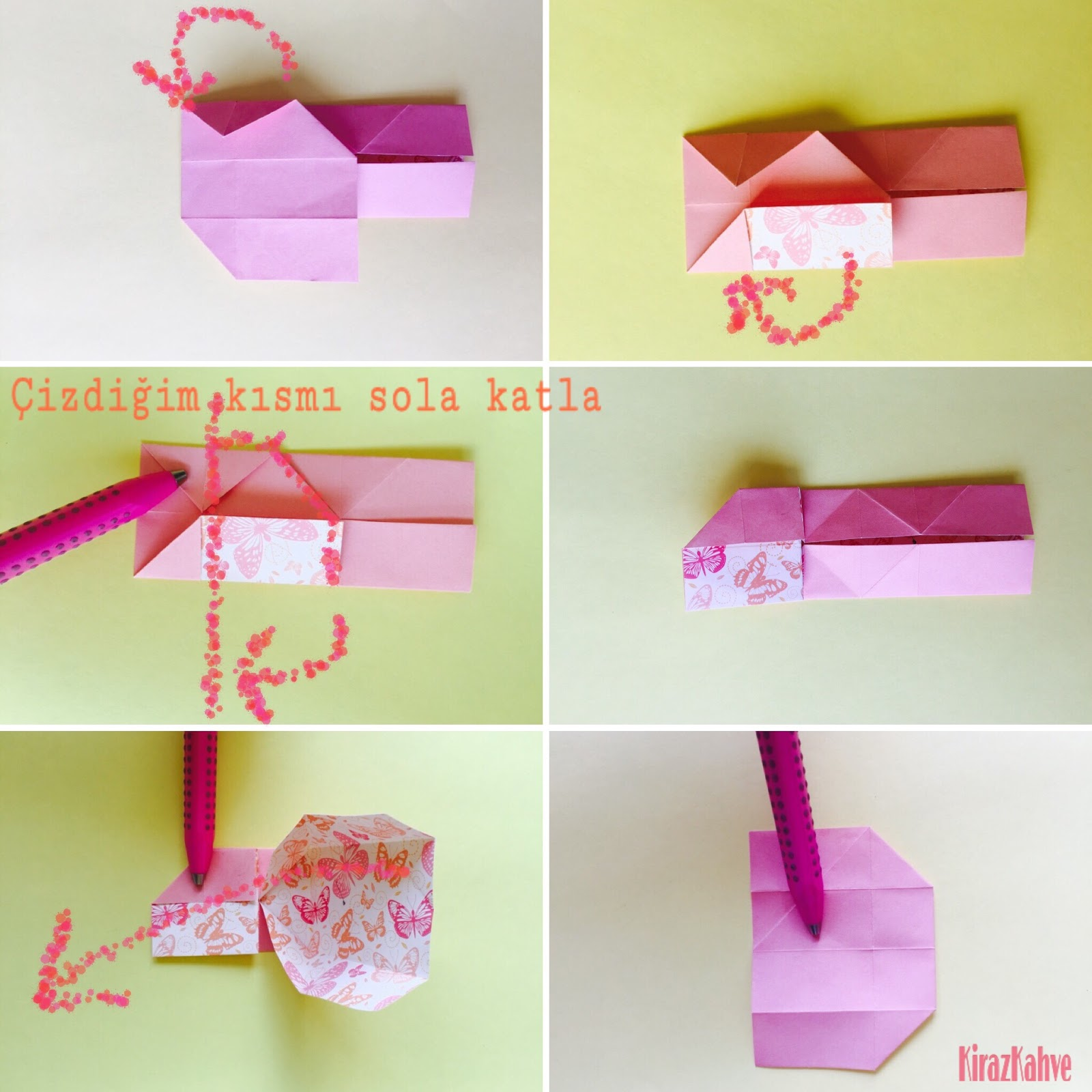 Origami Kağıt Kalp Kutu Yapımı