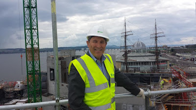Councillor Laurie Bidwell at the V&A Dundee Construction Site