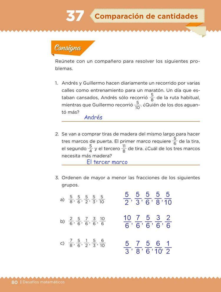 Comparación de cantidades -Desafío 37- Desafíos Matemáticos Quinto grado Contestado