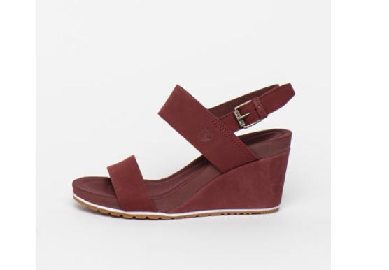 Sandale visinii de femei cu platforma de piele nabuc firma Timberland