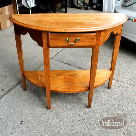 outdated 80s oak half round table updated deco art americana decor laurel wreath makeover