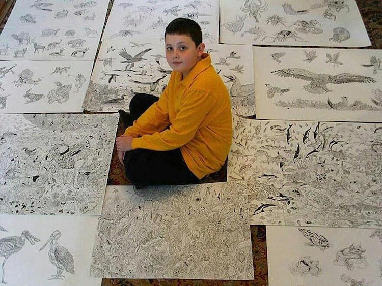 Artista de 15 años crea increíbles dibujos de animales de memoria