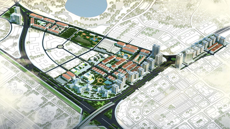 Phối cảnh tổng thê Khu đô thị kiểu mẫu Kiến Hưng