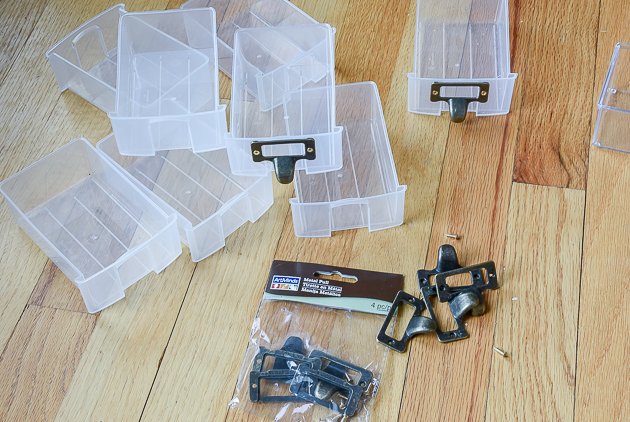 Attach metal label holders to plastic drawers