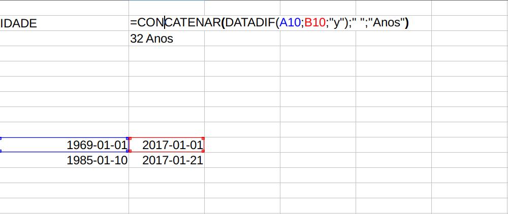 Adicionando texto após fórmula no LibreOffice Calc
