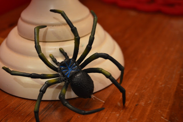 A large, scary rubber spider