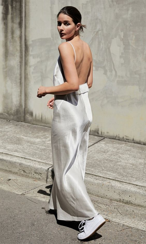 white slip dress and sneakers