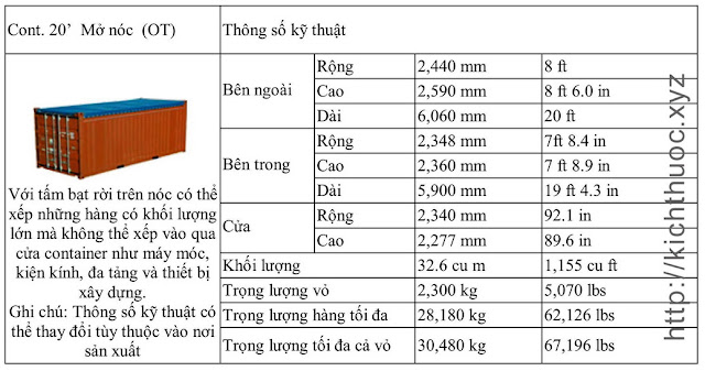 kich thuoc container mo noc 20 feet