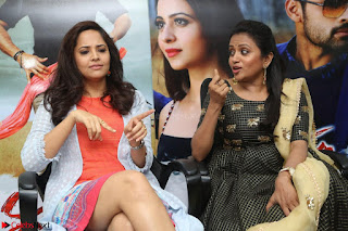 Actress Suma in Black Salwar Suit and Anusuya in orange Dress at winner movie press meet part 2 February 2017 (57).JPG