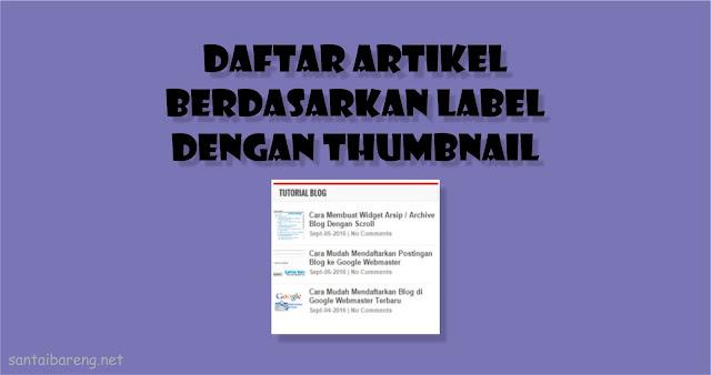 Widget Daftar Atikel Berdasarkan Label