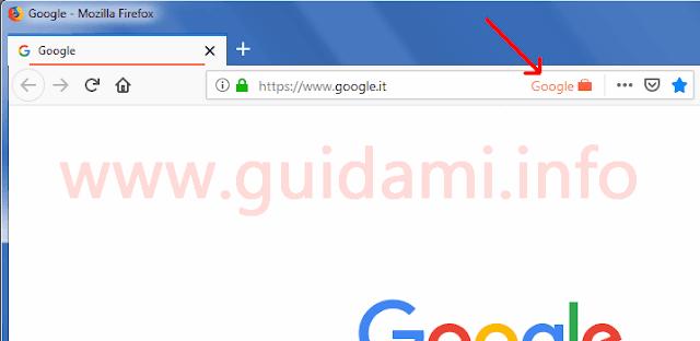 Firefox barra degli indirizzi internet con icona dell'estensione Google Container