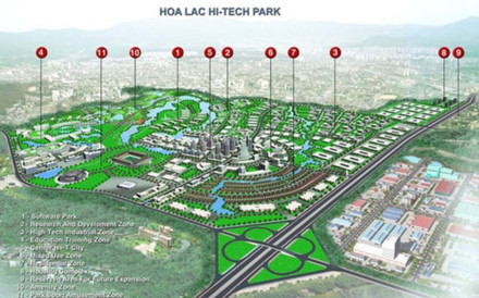 Khu công nghệ cao Hòa Lạc được xây dựng trên diện tích 1,586 ha, với 8 khu chức năng chính