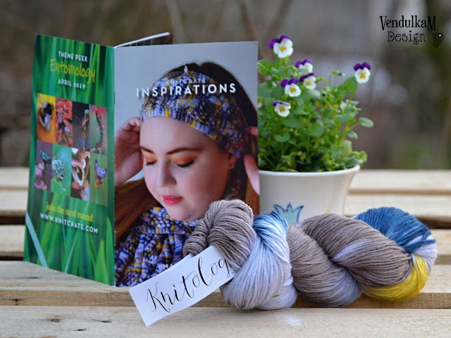 Yarn, magazine and flower