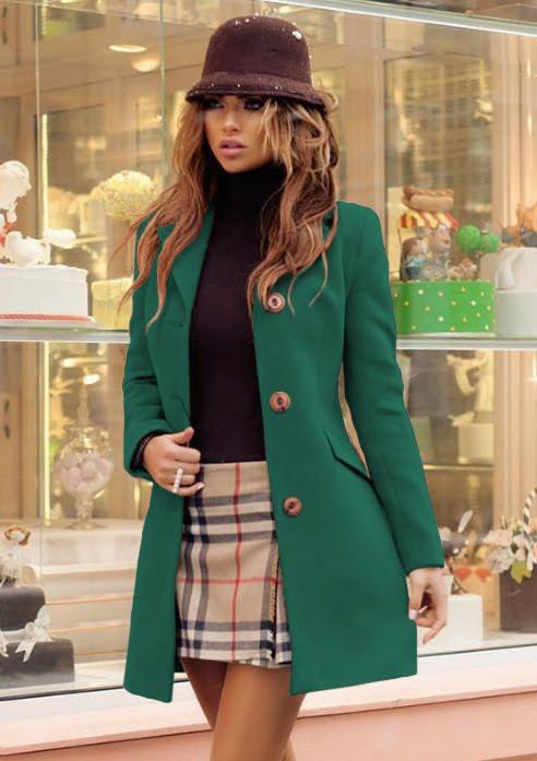 Palton dama verde scurt cambrat din stofa Bella