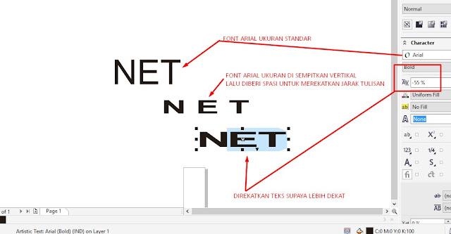 Buat Tulisan NET lalu rapatkan