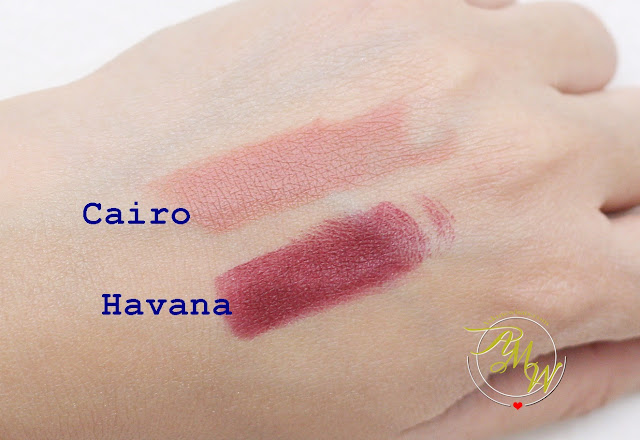 a swatch photo of Makeup World Lipsticks Review in shades Cairo, Havana, Panama and Dublin.