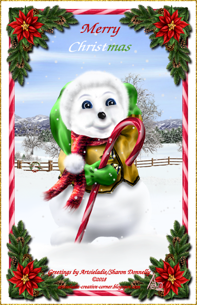 Happy Snowman 2017 art by/copyrighted to Artsieladie
