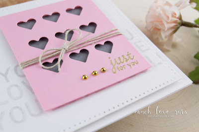 This sweet and simple card is a great way to send someone a reminder that they are loved.  Featuring the Letterboard Sentiments and Mini Greeting Stamp Sets from Fun Stampers Journey, along with the Bunch of Hearts Die that you can get for FREE with an order of $75.