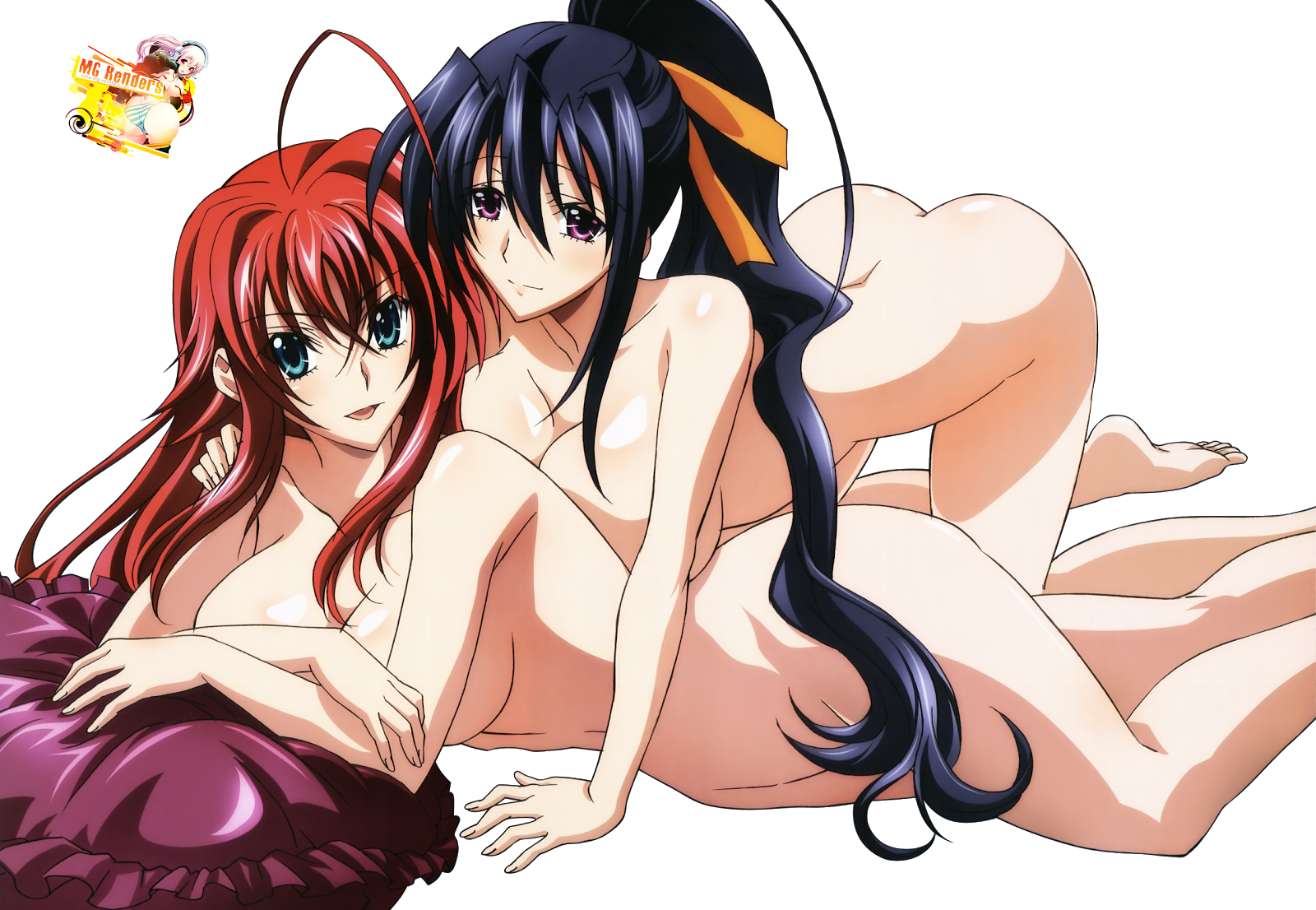 Tags: Anime, Render,  Breasts press,  High School DxD, ハイスクールD×D, Haisukūru D×D,  Himejima Akeno, 姫島朱乃,  Huge Breasts,  No bra,  No panties,  Rias Gremory, リアス・グレモリー,  Yuri, PNG, Image, Picture