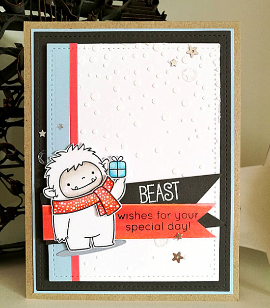 Birdie Brown Beast Friends stamp set and Die-namics - Cecilie Malling #mftstamps