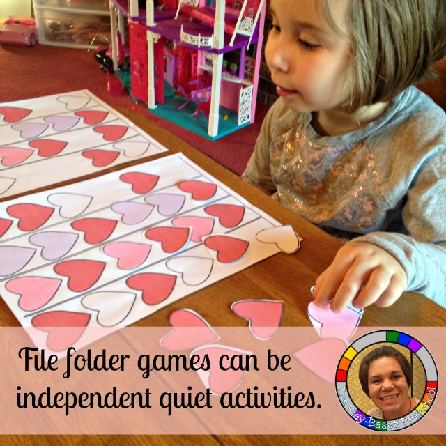 File folder games provide work at home mom quiet activities to reinforce different learning skills. (Valentine Patterns pictured)