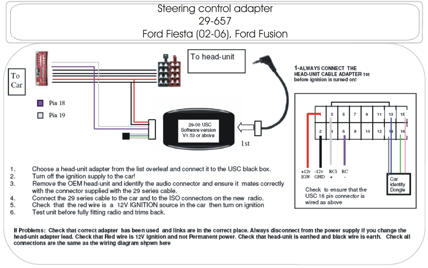 20022006 Ford Fiesta Steering Control Adapter | Schematic
