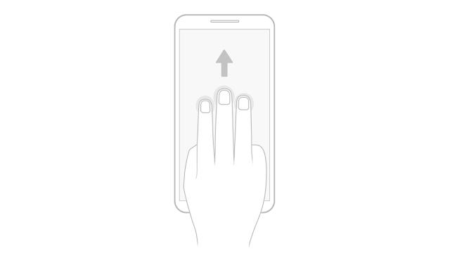 Gesek layar dengan tiga jari naik ke atas