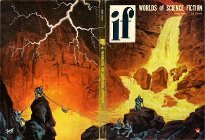 "A cover from the 1954 science fiction magazine ""If"" depicting astronauts climbing rocks on an alien planet."