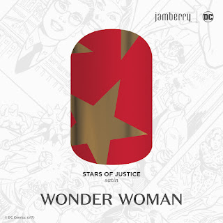 Inspired by Wonder Woman's signature stars, this red and gold classic, 'Stars of Justice' is just what you need to channel your inner Super Hero.  #StarsOfJusticeJN  © DC Comics. (s17) Noel Giger Jamberry