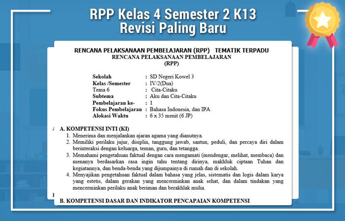 RPP Kelas 4 Semester 2 K13 Revisi Paling Baru