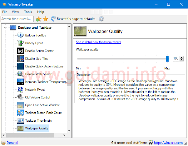 Programma Winaero Tweaker opzione Wallpaper Quality
