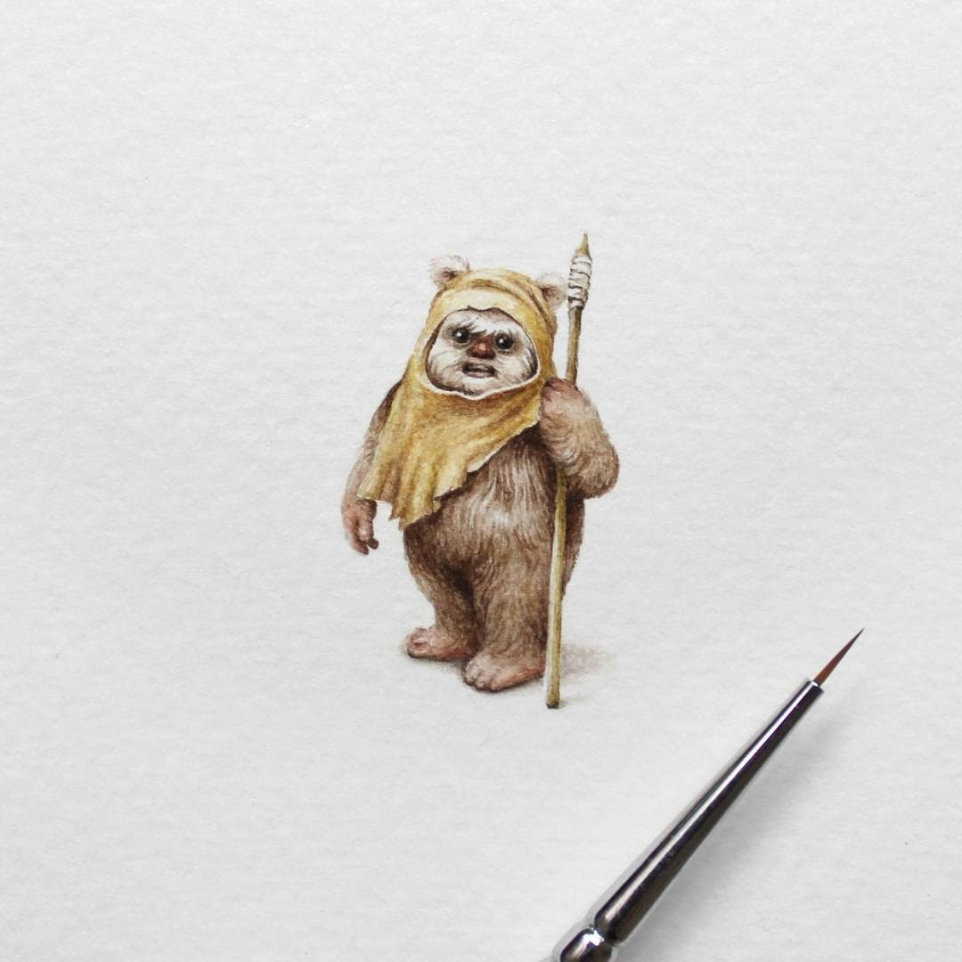 05-Ewok-Star-Wars-Julia-Las-Miniature-3-cm-Paintings-of-Wild-Animals-www-designstack-co
