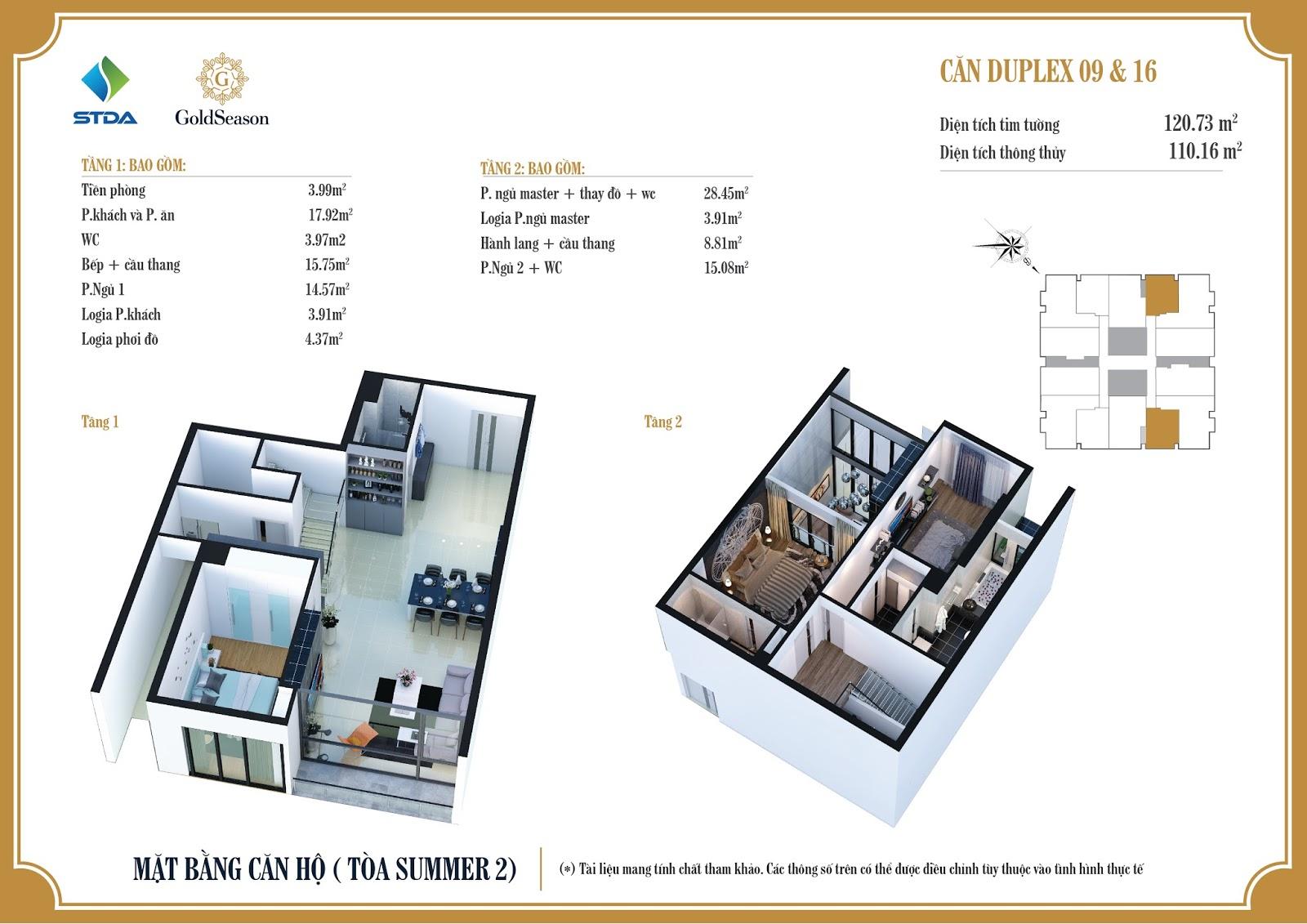 Mặt bằng 3D căn hộ Duplex tòa Summer 2 căn số 09 và 16