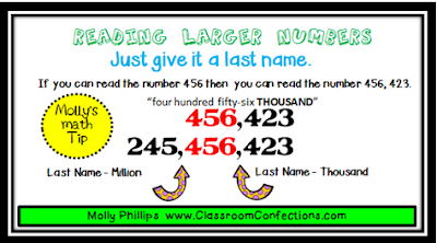 reading larger numbers activity