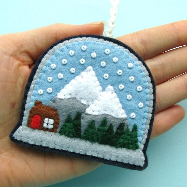 Felt Snow Globe Christmas Ornament Tutorial