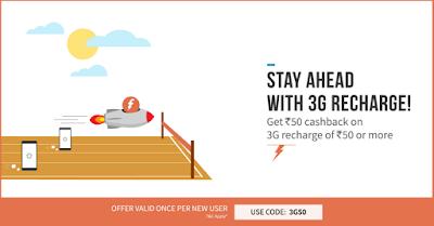 Freecharg Rs 50 cashaback Promo COde 3G50