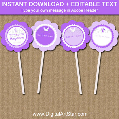 purple baptism cupcake toppers - instant download editable pdf file