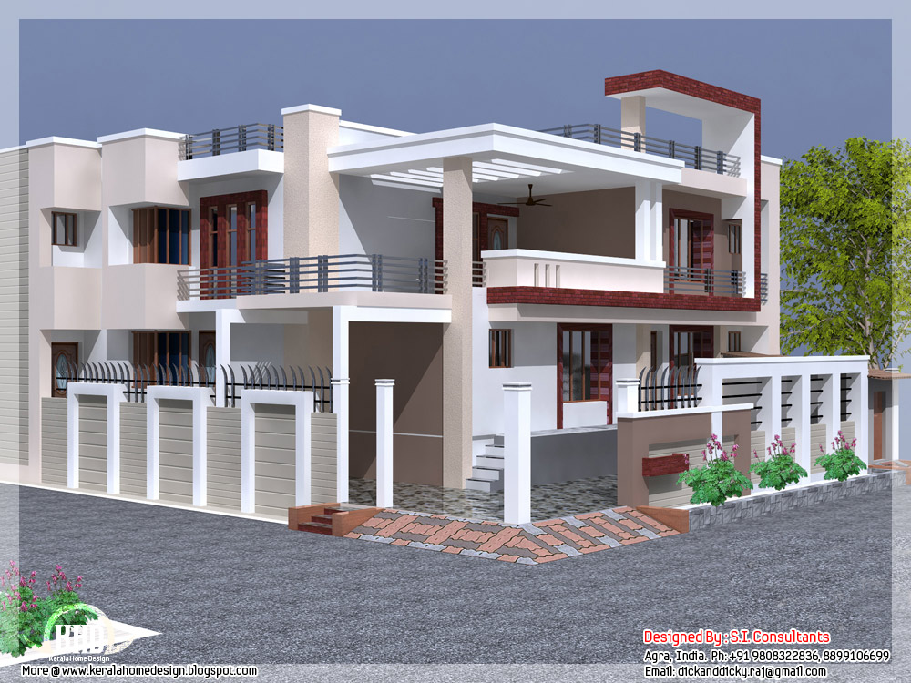 India house design with free floor plan kerala home for Indian home outer design