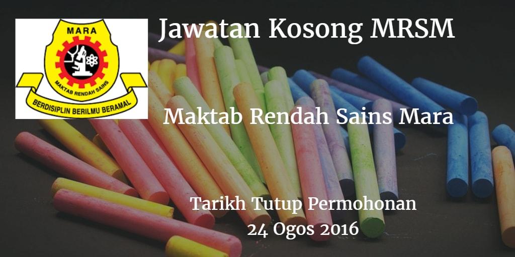 Jawatan Kosong MRSM 24 Ogos 2016