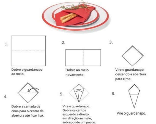 como dobrar guardanapo de papel