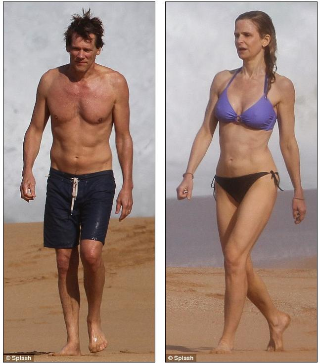 Kevin Bacon, 53, and Kyra Sedgwick, 46, flaunt their super toned bodies on  beach vacation