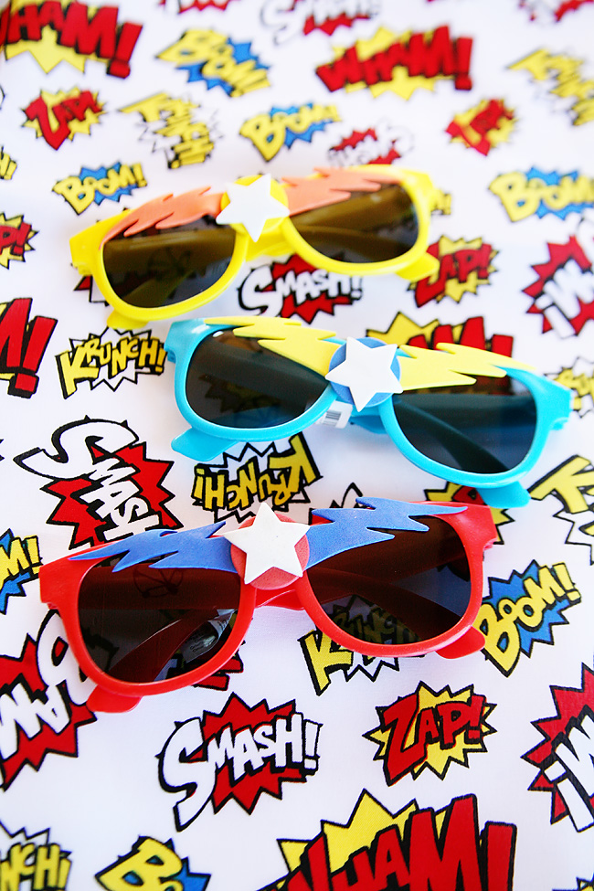 Super Hero sunglasses. Fun party favor for a super hero themed birthday party.
