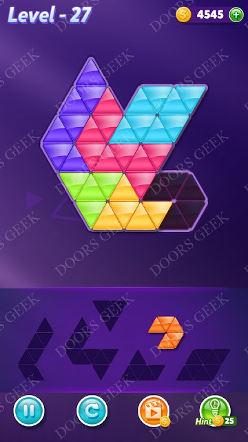 Block! Triangle Puzzle Intermediate Level 27 Solution, Cheats, Walkthrough for Android, iPhone, iPad and iPod