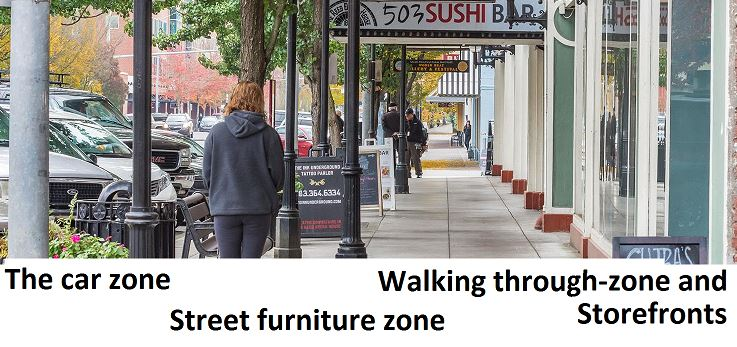 Salem breakfast on bikes downtown streetscape plan kicks for Furniture zone sidewalk