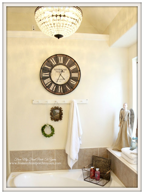 Antique Farmhouse Wall Clock-Mia Chandleier-Farmhouse Master Bathroom- From My Front Porch To Yours