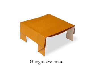 Cách gấp, xếp cái bàn vuông bằng giấy origami - Video hướng dẫn xếp hình đồ nội thất - How to fold a table