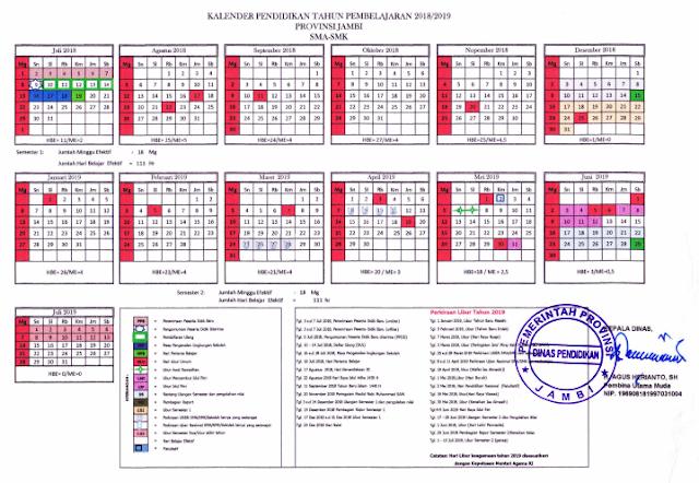Download Kalender Pendidikan Tahun Ajaran 2018/2019 Jambi