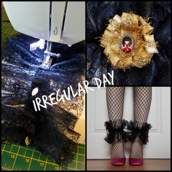 collage of process making black lace ankle cuffs