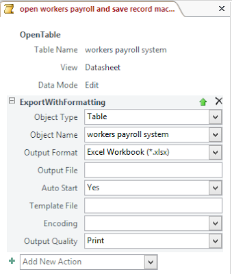 Set the following for the export with formatting action
